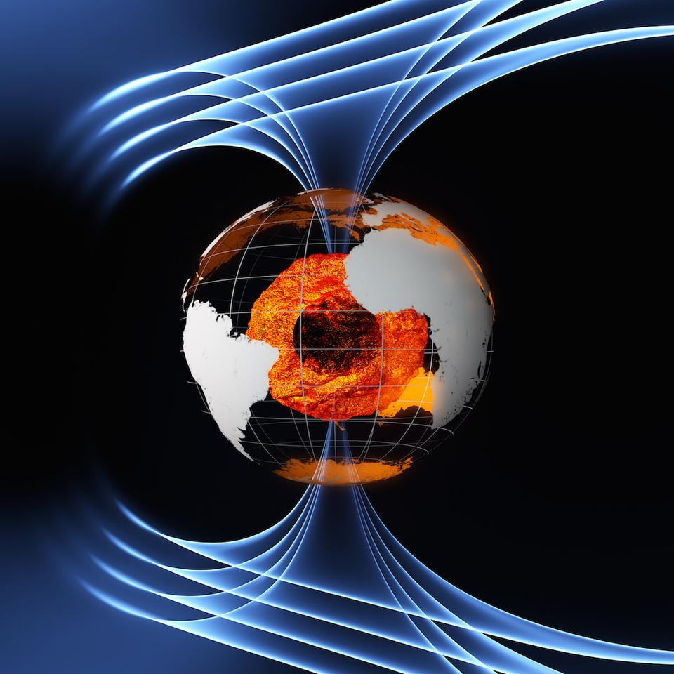 A flowing ocean of molten iron at the Earth's core is responsible for the planet's constantly-changing magnetic field