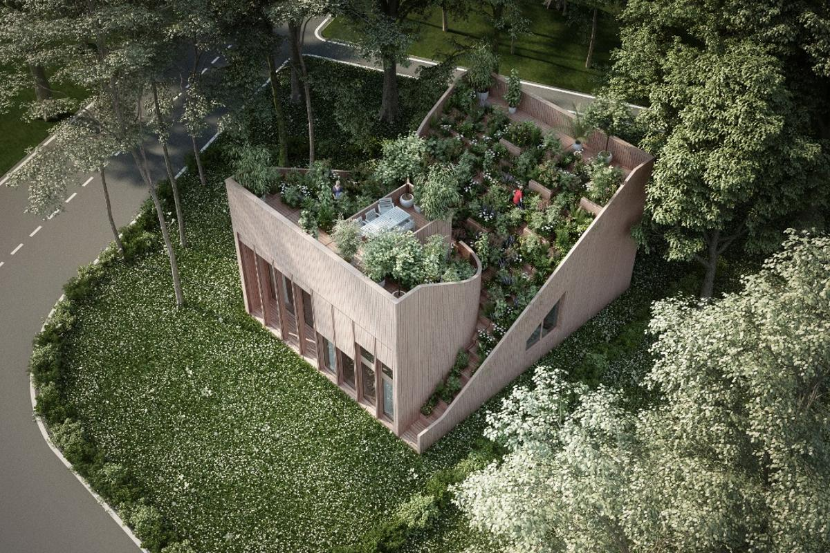 A small block of land located in the countryside of Germany will become home to this new concept, which boasts a generous rooftop vegetable garden