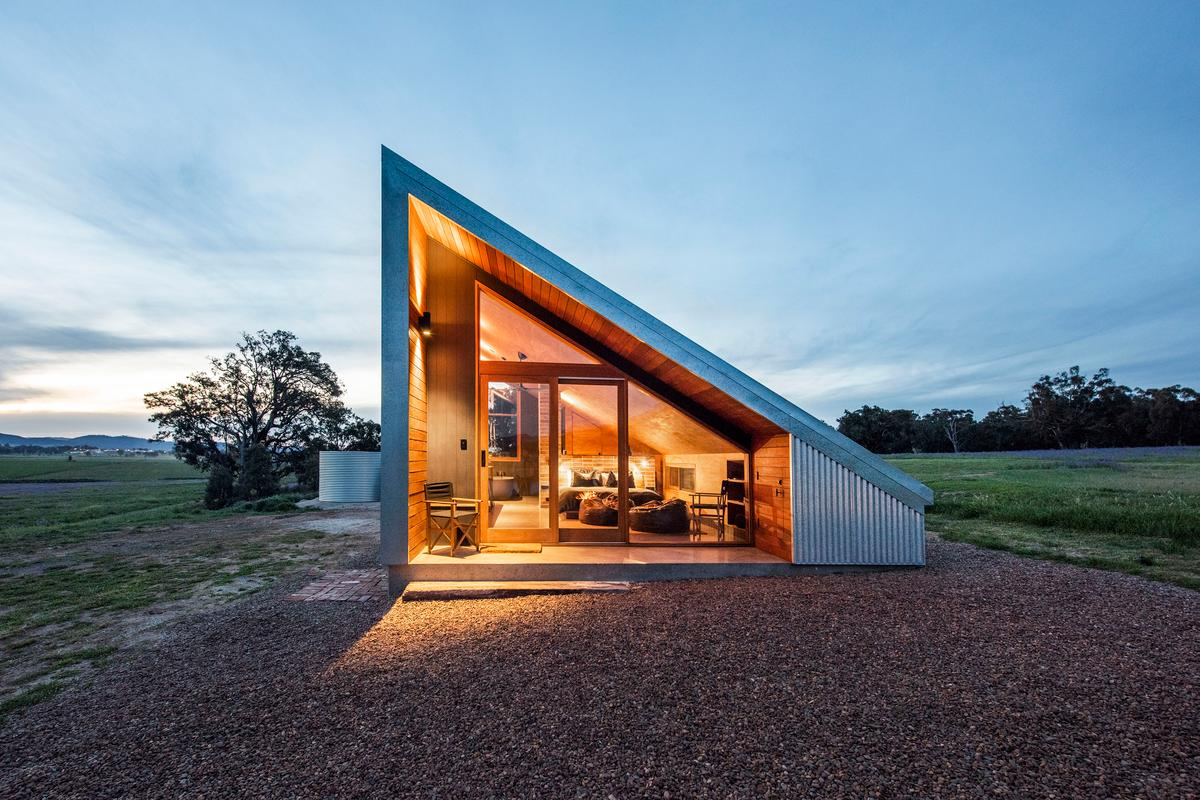 The utilitarian design of Gawthorne's Hut references a hay shed that was installed on the farm property, but was destroyed in a storm