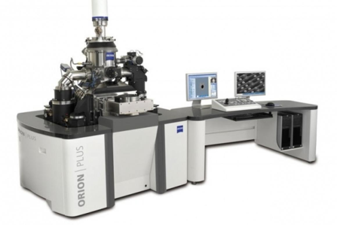 By focusing helium ions into a beam, instead of electrons, the microscope can offer higher focus with lower sample damage.