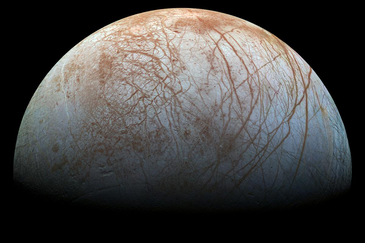 Jupiter's icy moon Europa, believed to be one of the best candidates for hosting extraterrestrial life in our Solar System