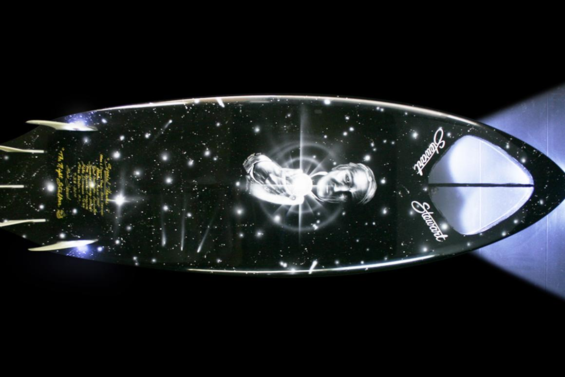 The Night Stalker surfboard features headlights for surfing at night