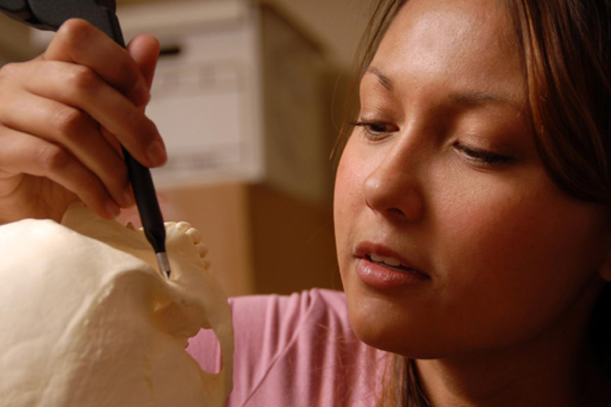 A student measures a skull with a digitizer, in Ann Ross' lab