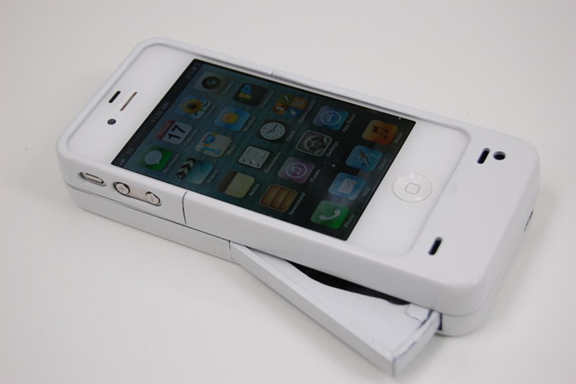 The Mipwr Dynamo is an iPhone case with a hidden lever that can be pressed down repeatedly to charge the battery