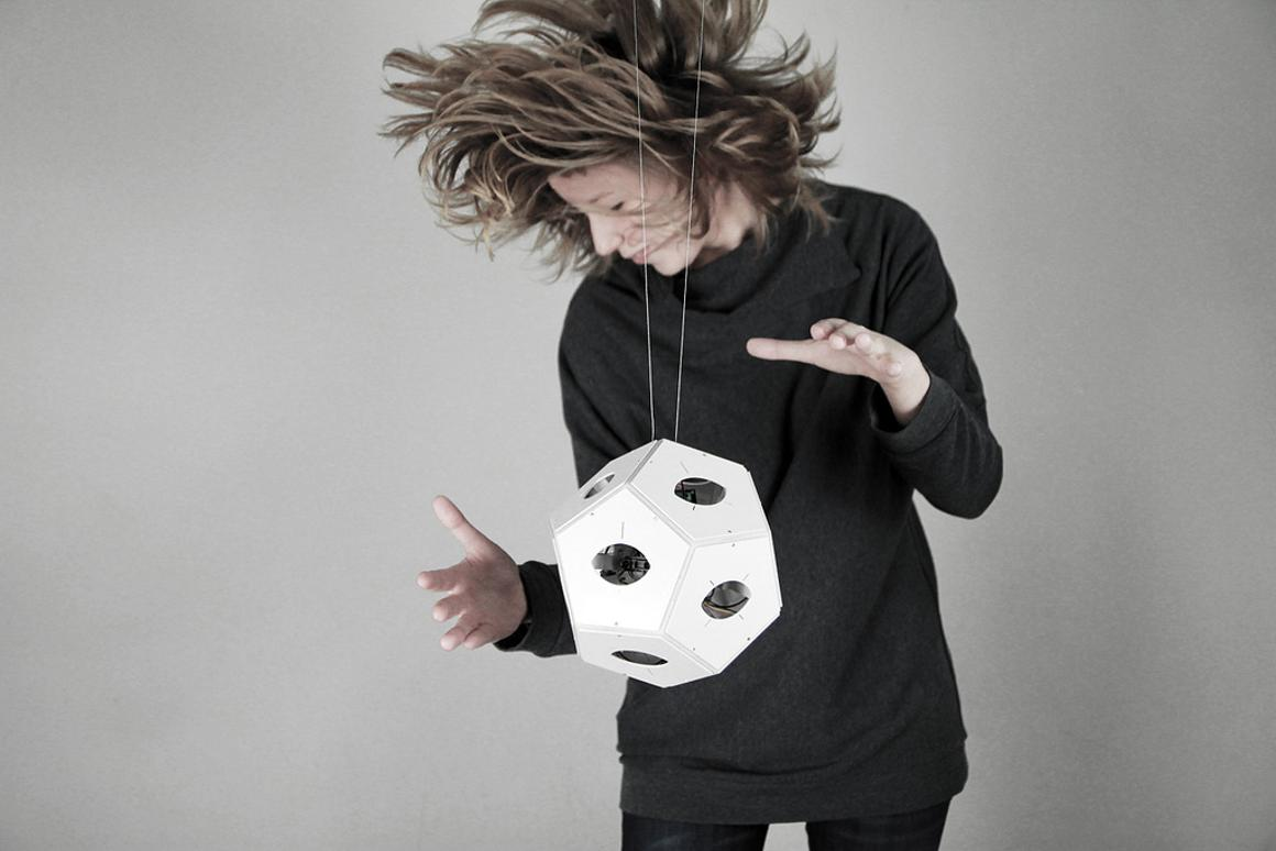 panGenerator's Dodecaudion is a 12-faced music controller that can trigger audio or video via external hardware, when a performer approaches any of the IR distance sensors at each face