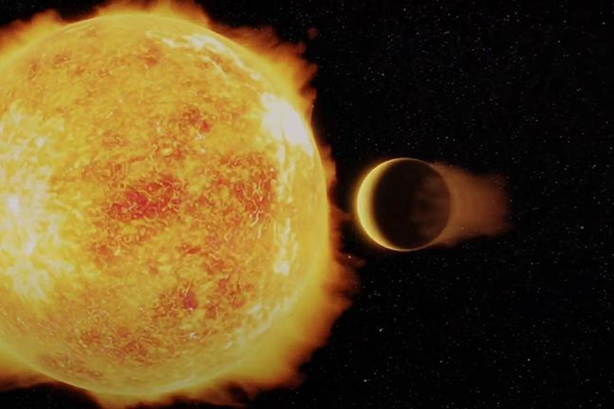 An artist's illustration of LTT 9779b, an ultrahot Neptune exoplanet that orbits its host star in under a day