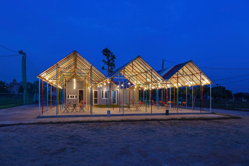 Re-ainbow community center was constructed from recycled building materials