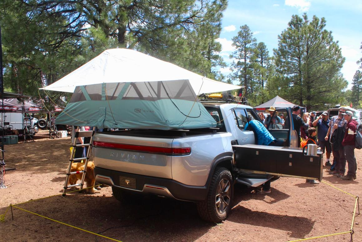Rivian's 750-hp electric camping pickup drives, cooks and