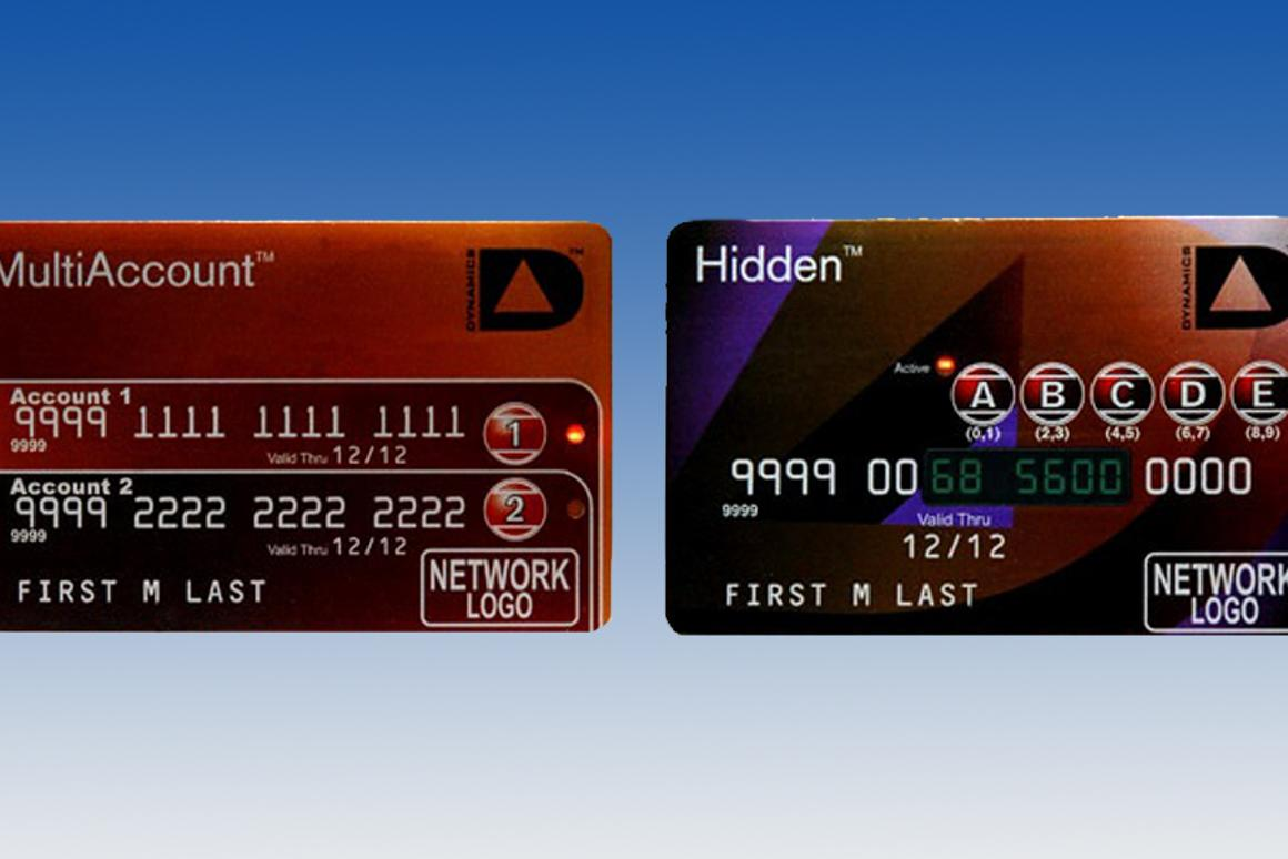 The MultiAccount and Hidden credit cards possible with the Card 2.0 technology (Image: Dynamics Inc.)