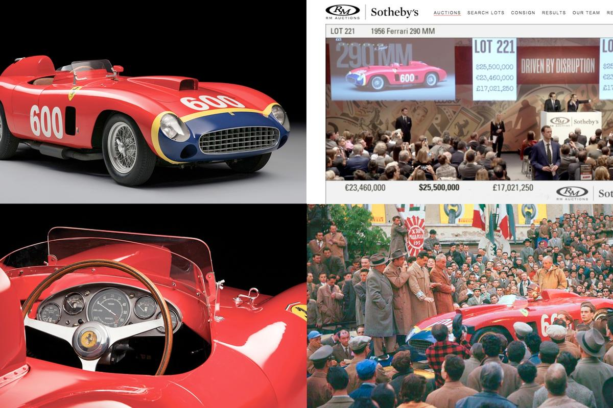 Fangio's Ferrari 290 MM fetched $28 million and became the third most expensive car ever sold