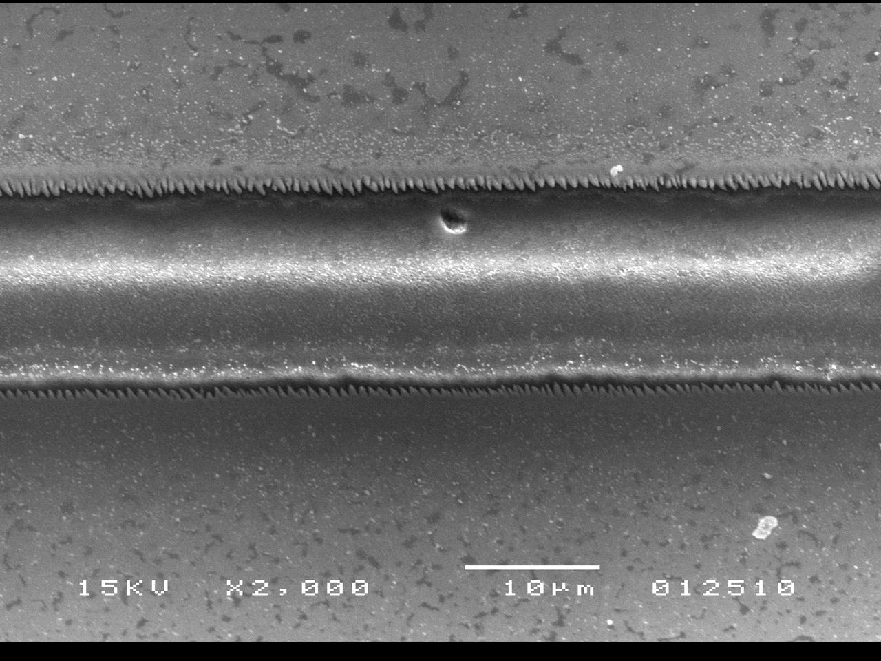 A microchannel created using the laser scribing technique (Photo: Purdue University School of Mechanical Engineering image/Yung Shin)