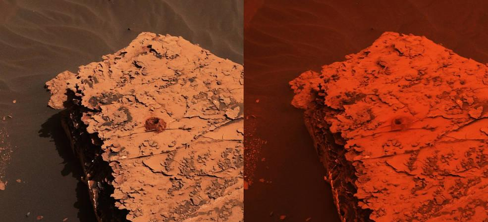 Two images from the Mast Camera (Mastcam) on NASA's Curiosity rover depicting the change in the color of light illuminating the Martian surface since a dust storm engulfed Gale Crater