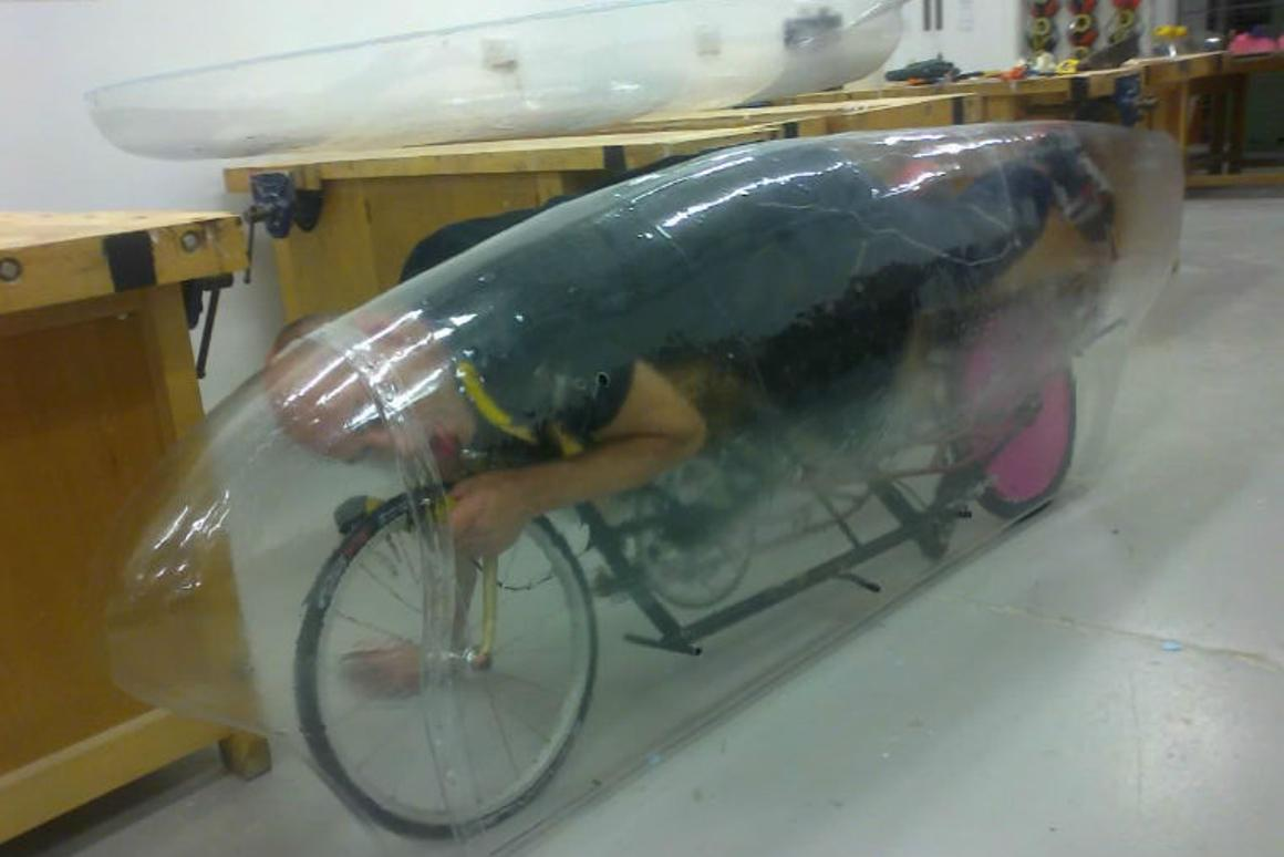 Cycling legend Graeme Obree hopes his latest innovation will not only break the human-powered vehicle land speed record, but also break through the 100-mph barrier (Photo: Humans Invent)