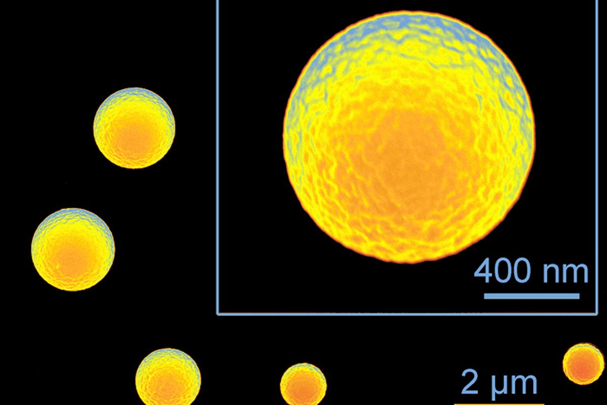 Silicone microspheres made via ultrasonic spray pyrolysis (Image: Kenneth Suslick)