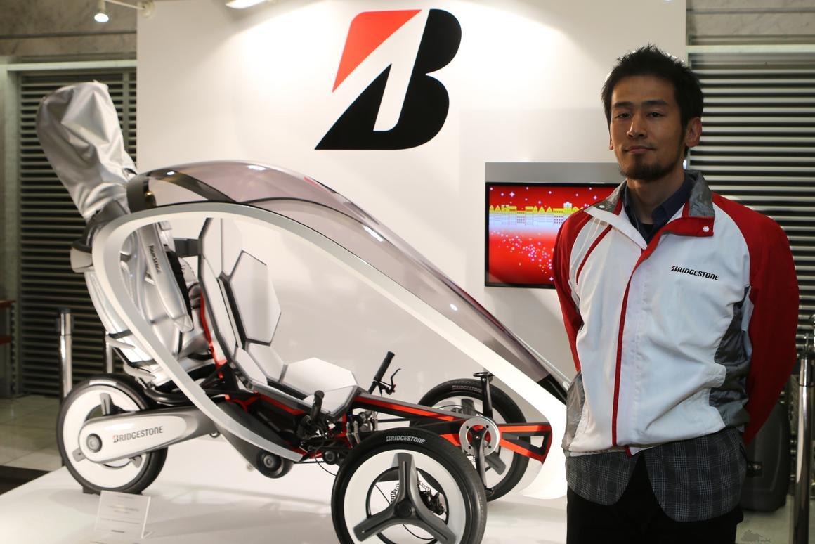 Designer Shungo Fujita with his pedal-electric trike