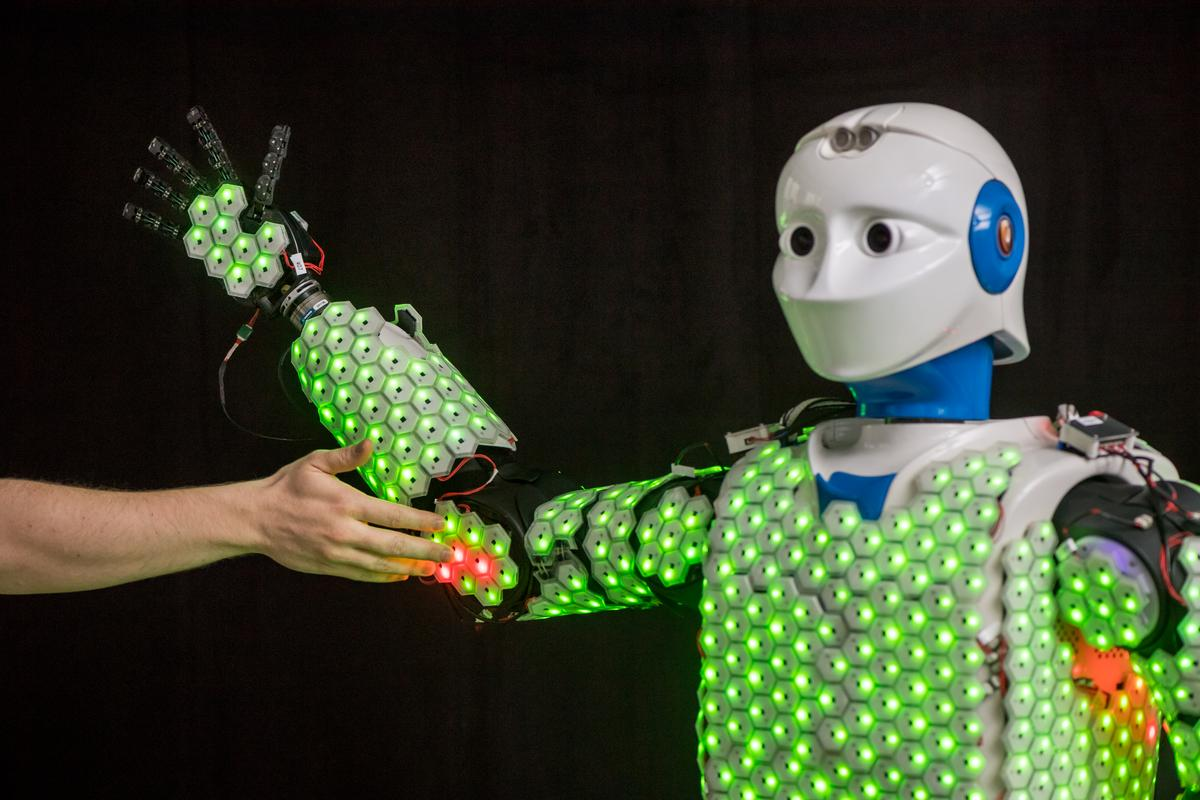 The H-1 robot has been equipped with artificial skin in order to provide it with a sense of touch