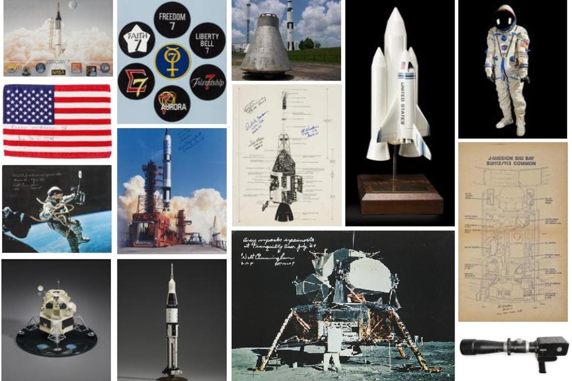 A few of the many space history items up for auction on April 21 (Photo: Bonhams)