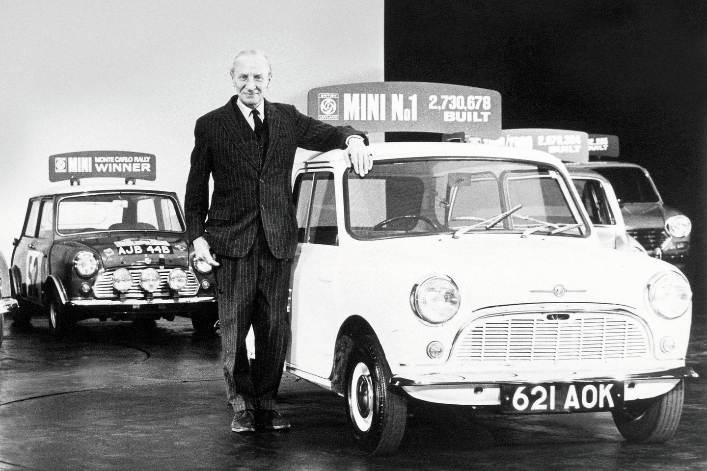 Sir Alec Issigonis celebrates one of the many milestones of the Mini dynasty