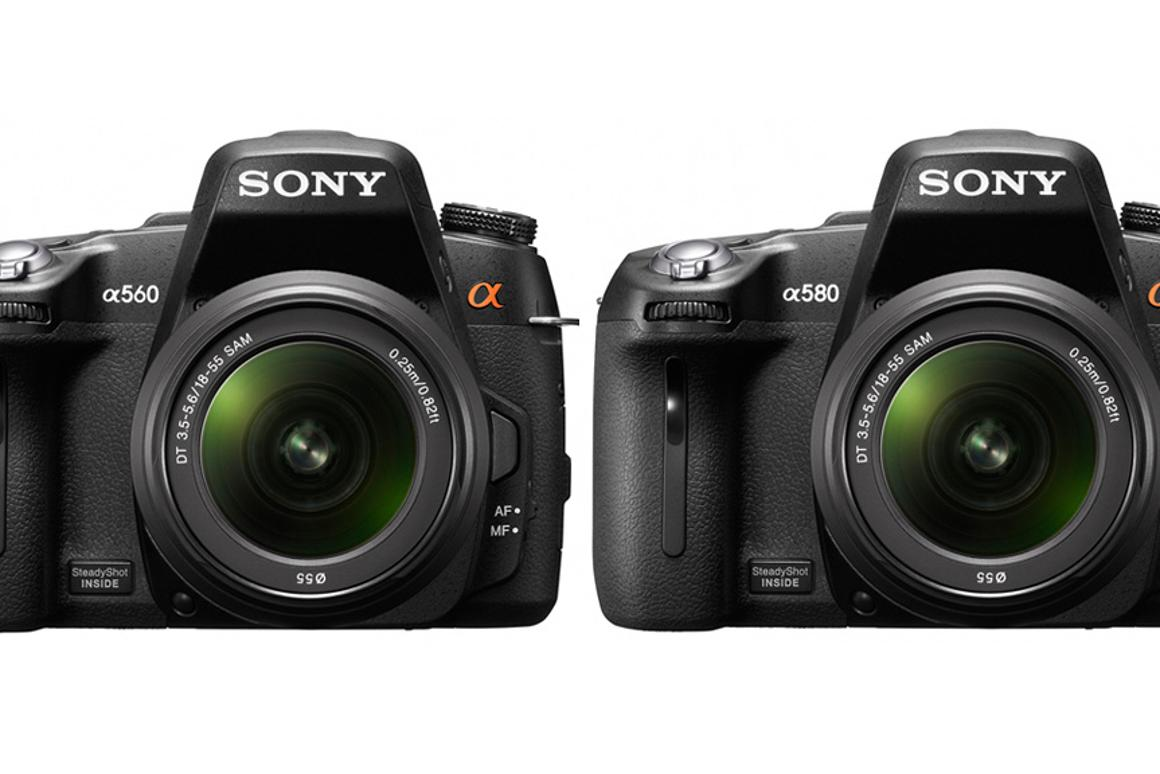 Sony's new A560 (left) and A580 DSLR cameras