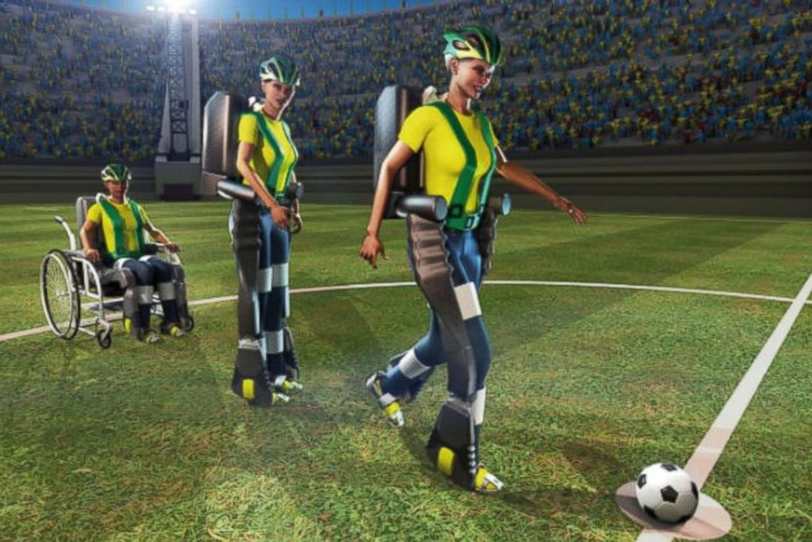 A new brain-controlled robotic exoskeleton will allow a paraplegic person to kick off the FIFA 2014 World Cup (Image: Walk Again Project)