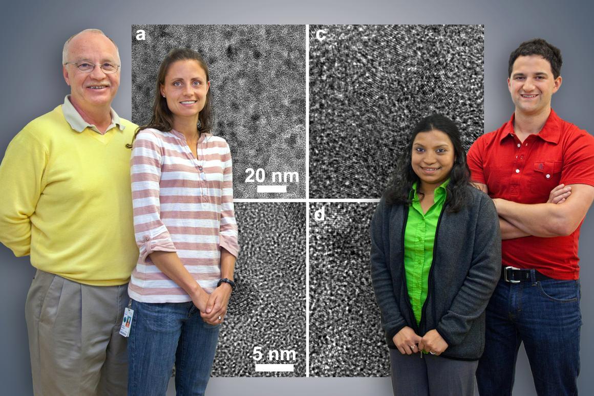 A scientific team including Christian Kisielowski, Anne Ruminski, Rizia Bardhan and Jeff Urban has developed a new nanocomposite for high-capacity hydrogen storage (Photo: Roy Kaltschmidt, Berkeley Lab Public Affairs)