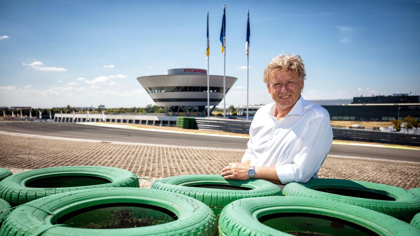 Track designer Hermann Tilke at the Porsche on-road circuit in Leipzig