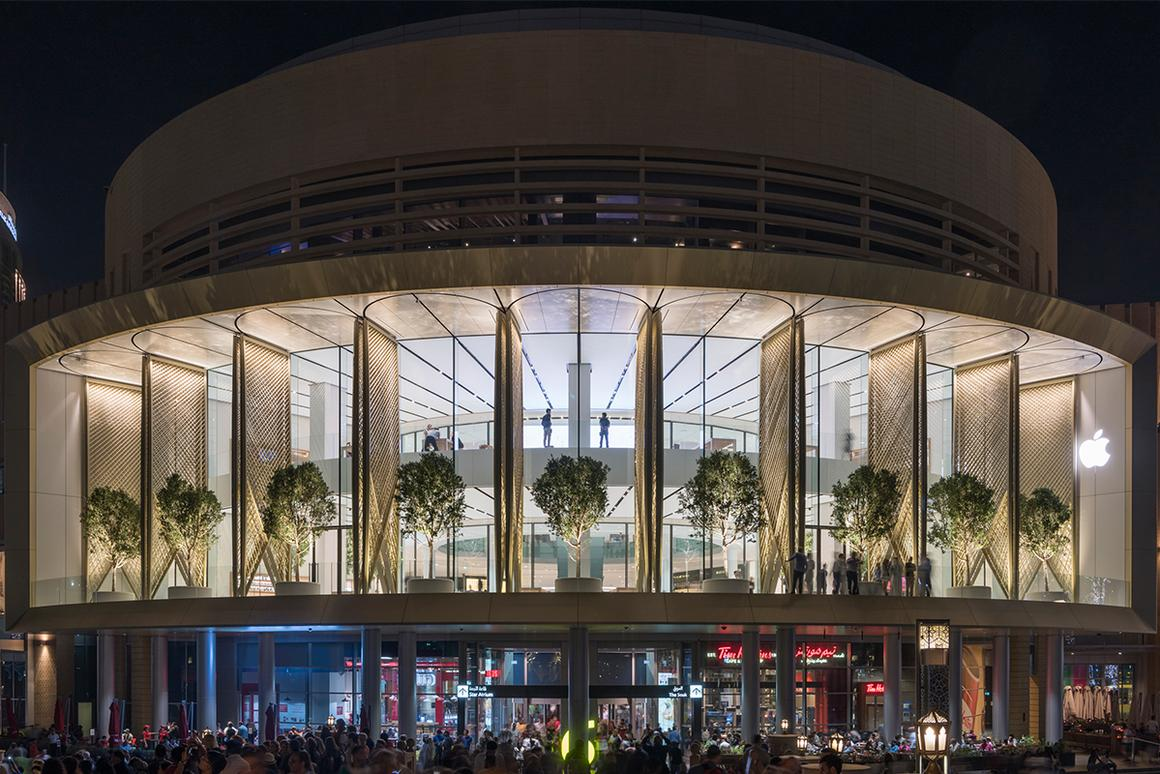 "The Apple Dubai Mall's 18 motorized ""Solar Wings"" take around a minute to open"