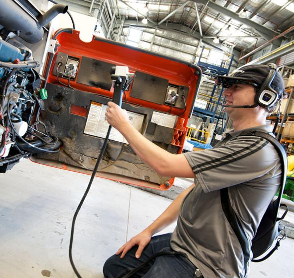 The HeatWave prototype being used by a technician