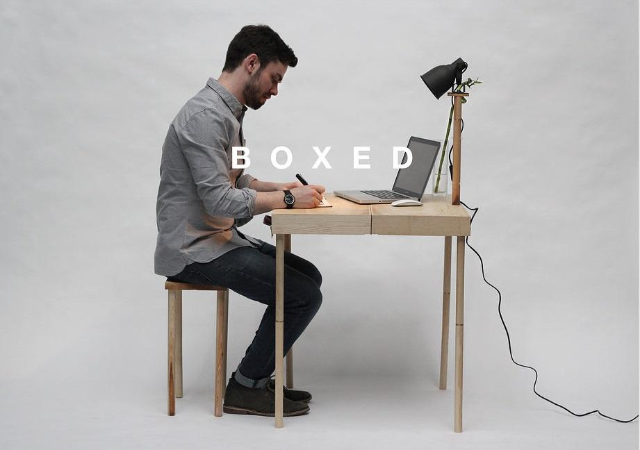 Boxed, is a multi-functional and flexible piece of furniture which folds neatly into a wooden briefcase-like structure