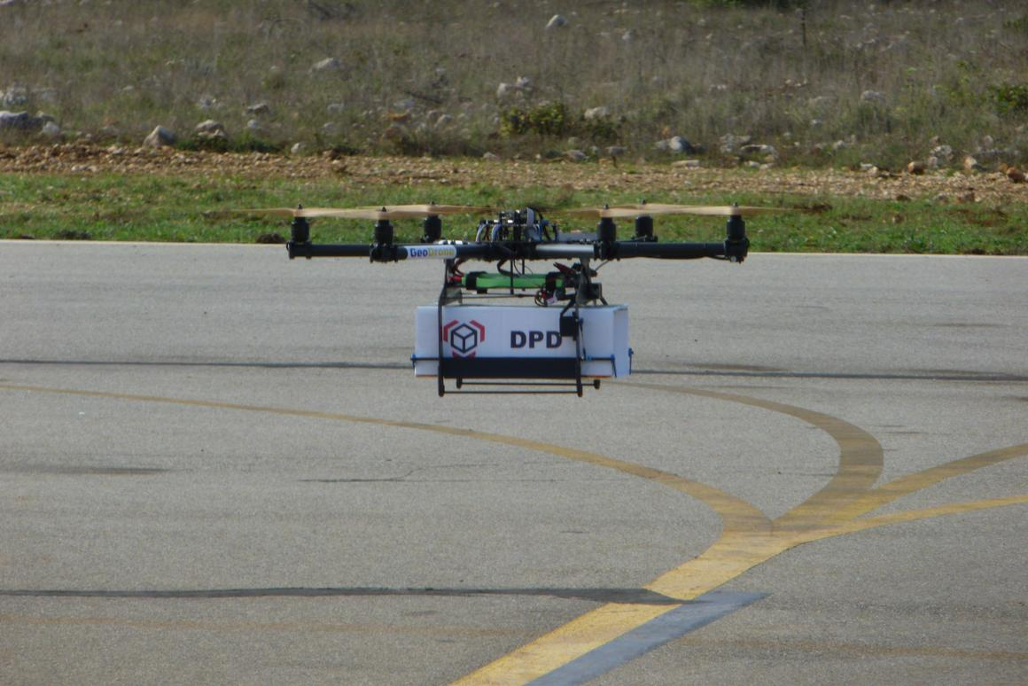 The GeoDrone delivery drone undergoing flight tests at CEEMA (Photo: GeoPost)