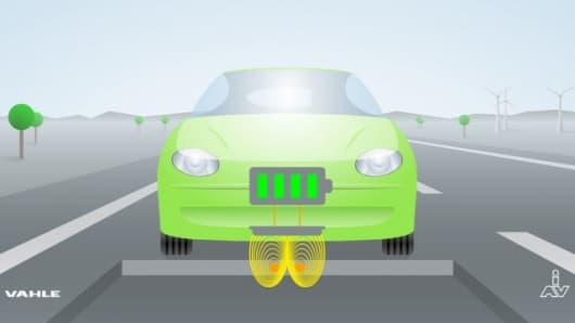 "The electric car of the future will ""refuel"" while driving or parked, completely automatically and without physical contact, using the principle of electromagnetic induction"