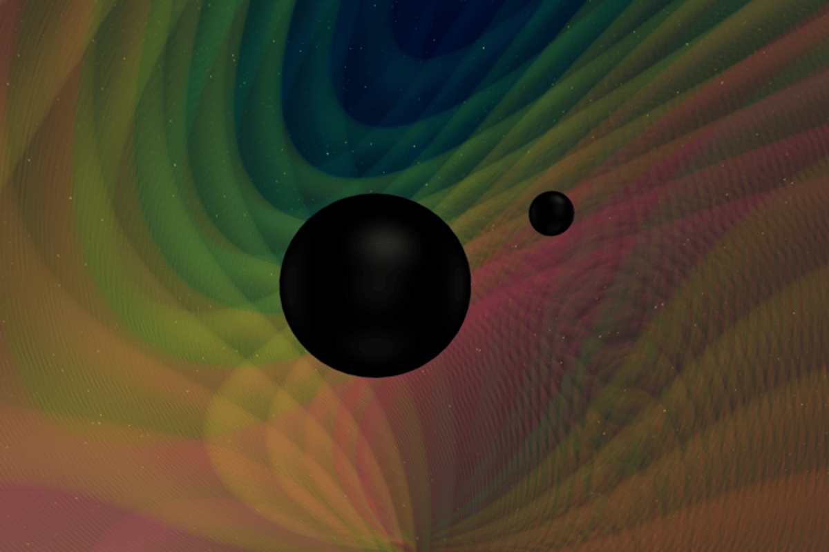 An artist's impression of two black holes of unequal mass, which collided to give off the unique new gravitational wave signal