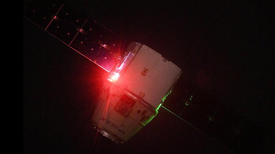Cosmonaut Oleg Artemyev tweeted this image of the SpaceX Dragon resupply ship shortly after it was released from the grips of the Canadarm2 robotic arm