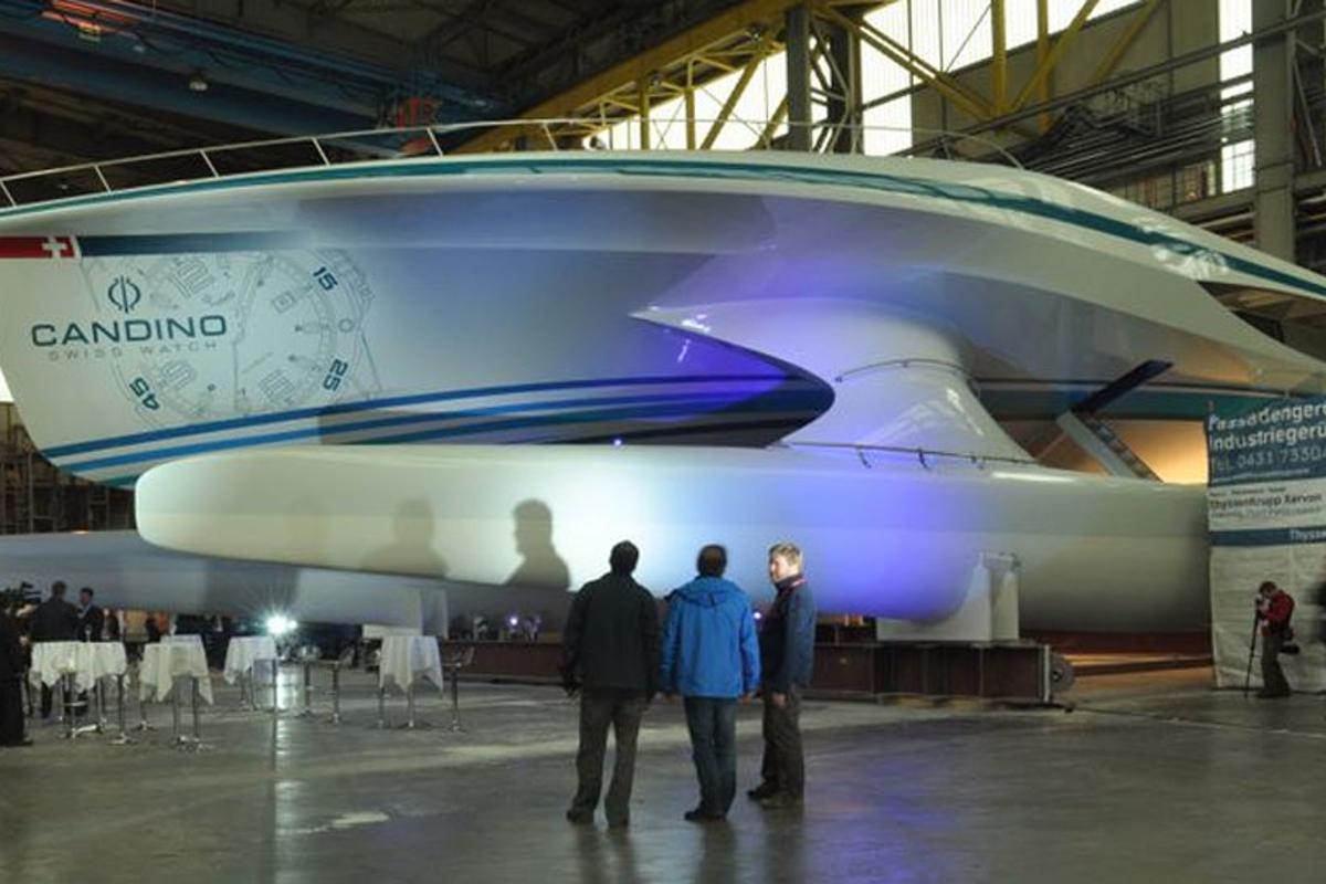 PlanetSolar: The world's largest solar boat at the unveiling on Feb. 25