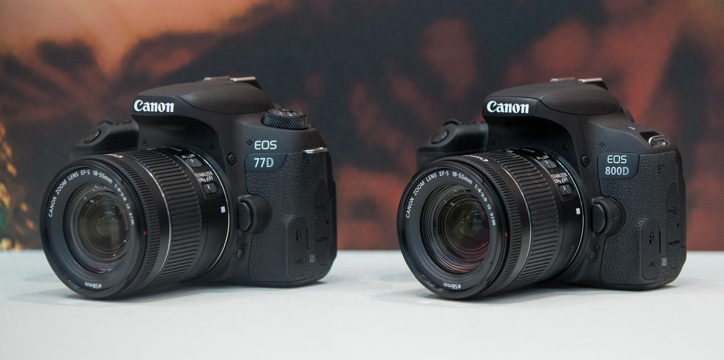 The Canon EOS 77D (left) and Canon EOS 800D (also known as the Rebel T7i) were on display at The Photography Show 2017