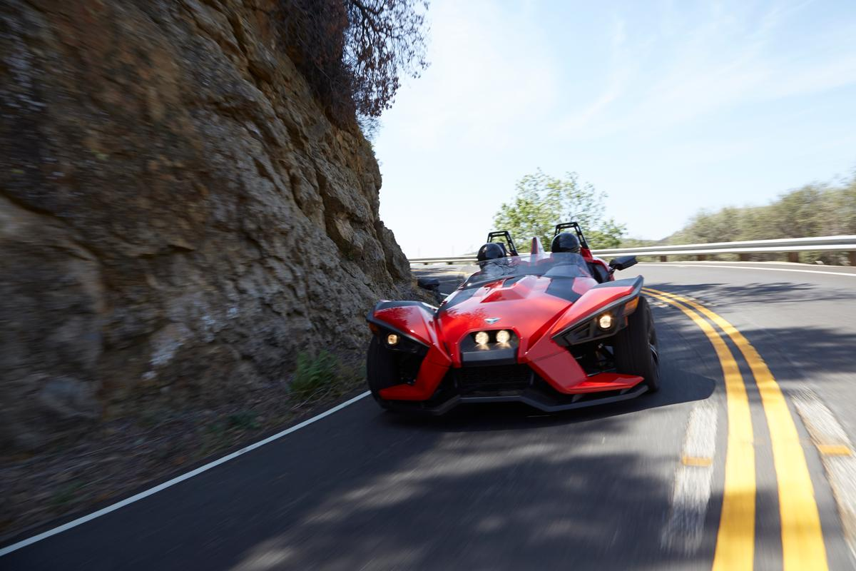 Polaris touts the cornering prowess of the Slingshot