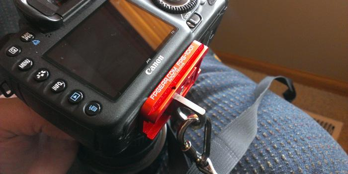 The Fusion Plate is designed for quick and easy switching between a tripod and shoulder strap