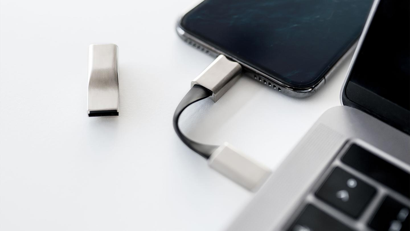 The High Five charging cable is built from metal and silicone