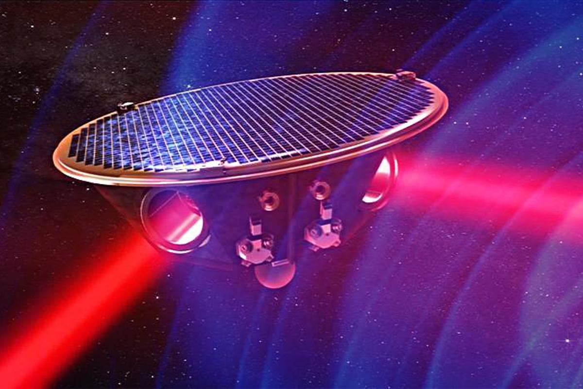 Artist's concept of eLISA passing through gravitational waves (Image: AEI/MM/exozet)