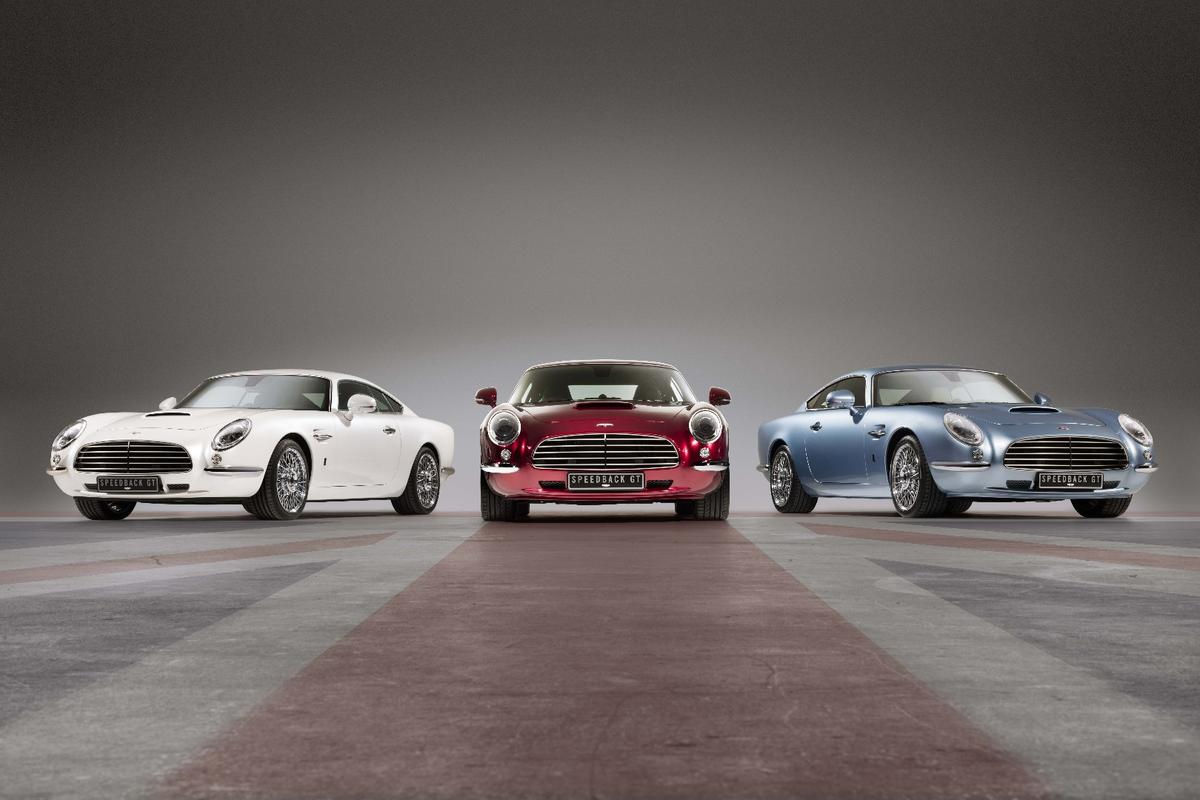 A Union Jack trio of Speedback GTs, each wearing a unique paint color designed for its specific owner