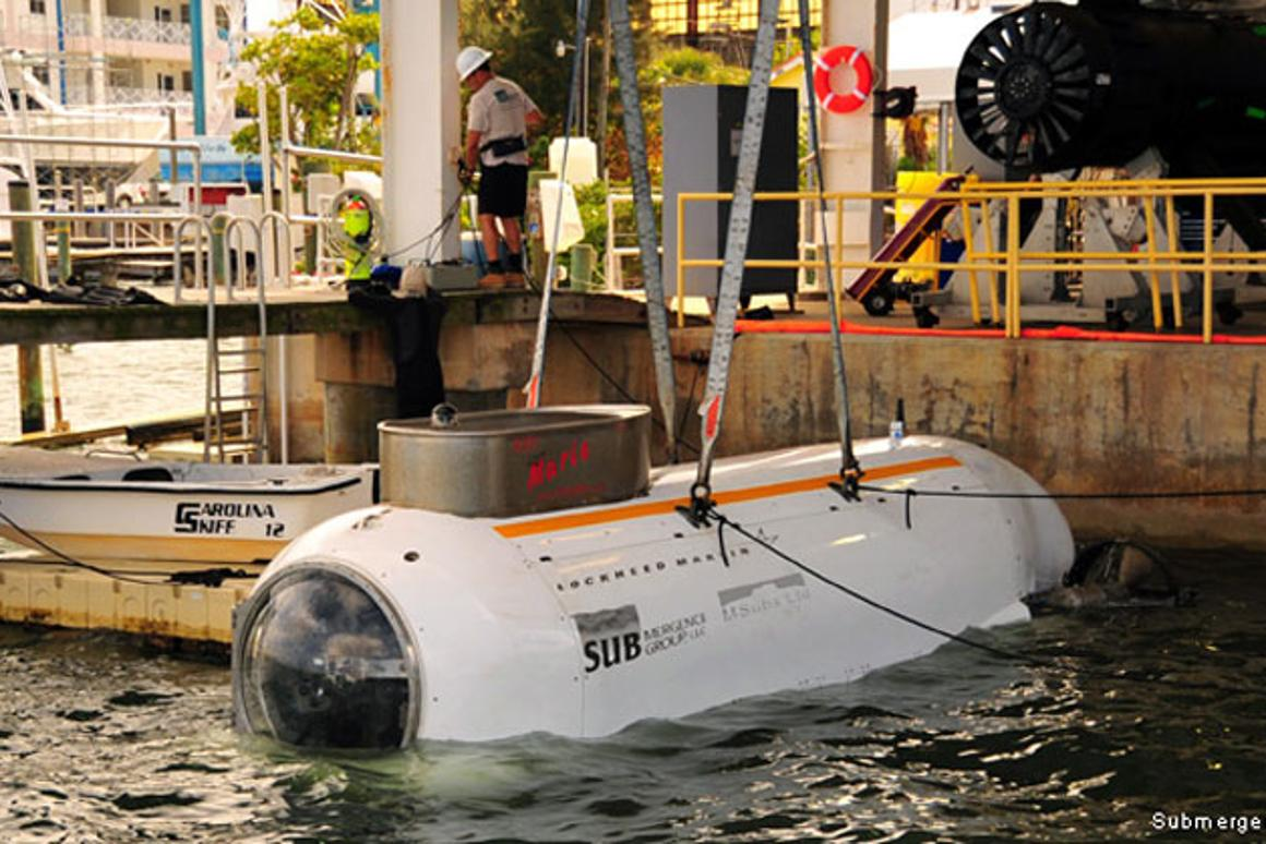 A Dry Combat Submersible (DCS) prototype in the water in 2012