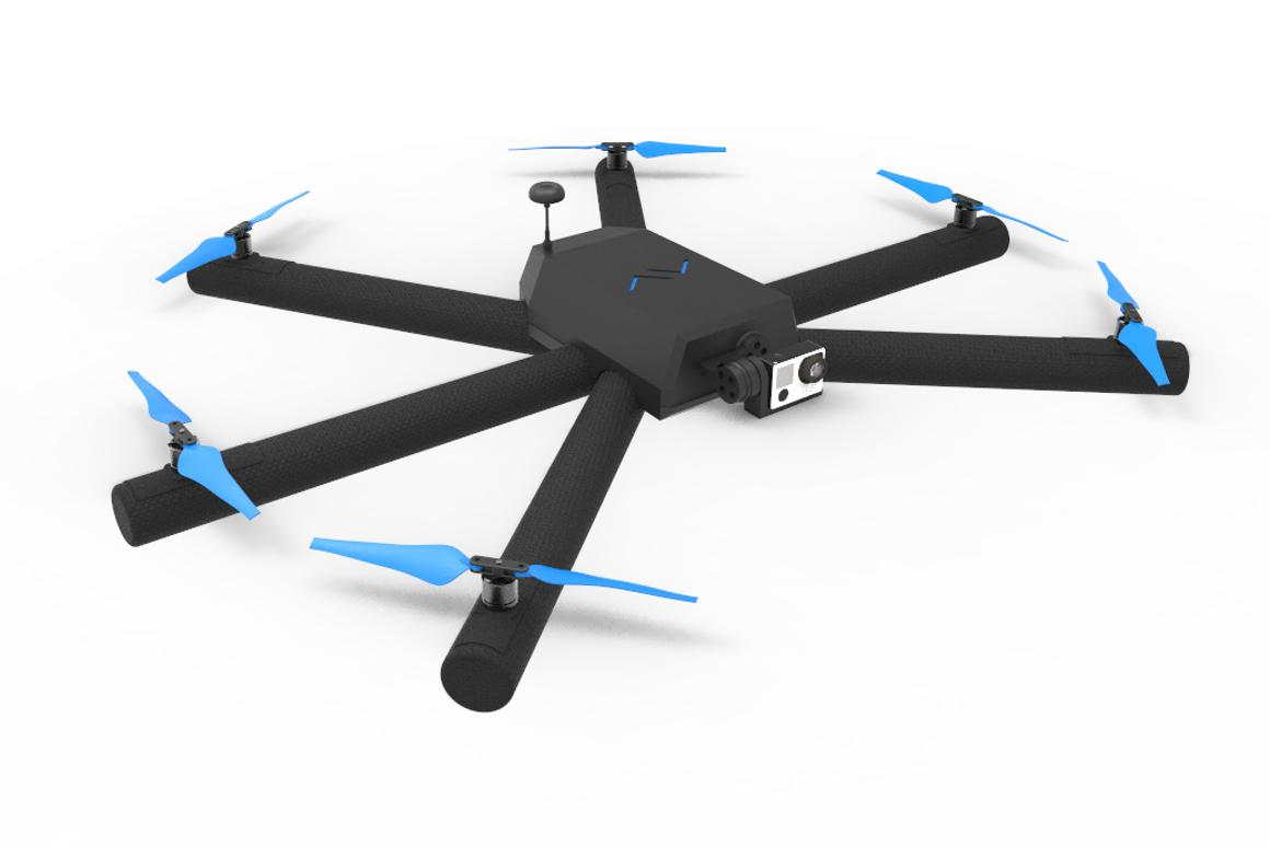 Airvada's Diodon drone featuresdeflating the arms that allow it to float on water