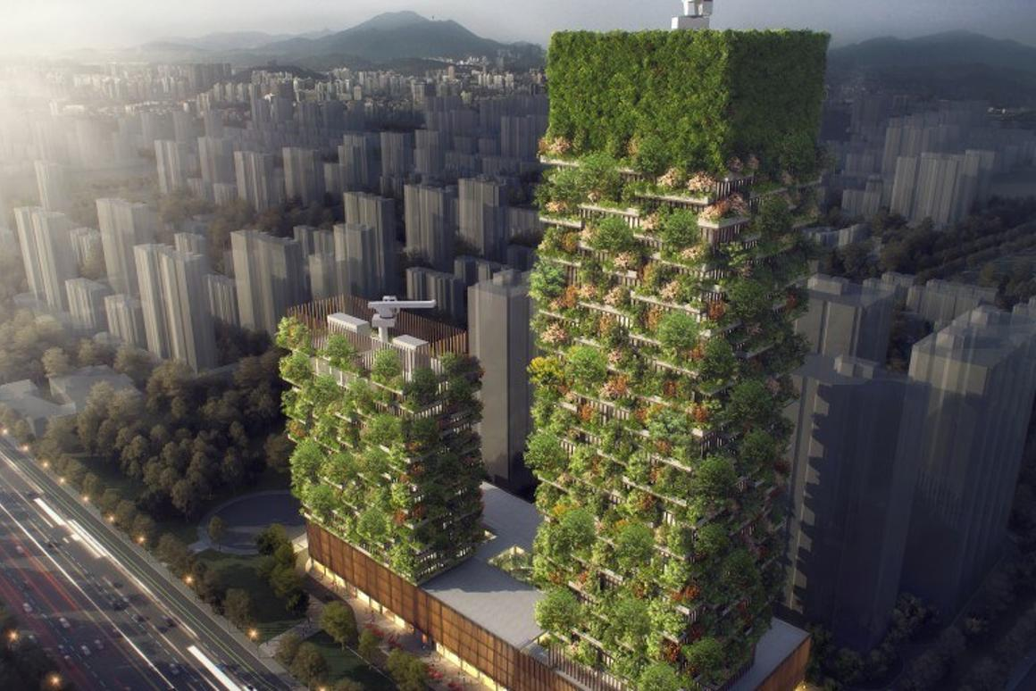 The Nanjing Vertical Forest project consists of a pair of towers atop a shared podium