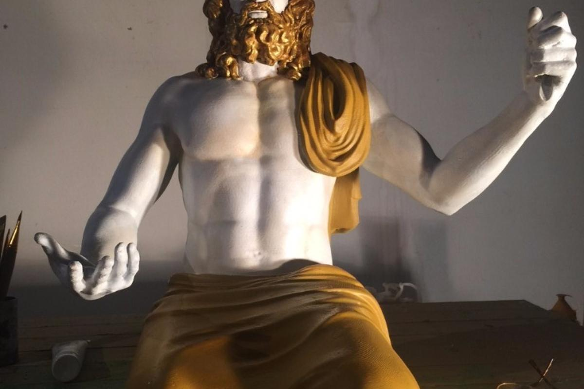 The 3D-printed replica of the Statue of Zeus is made of thermoplastic