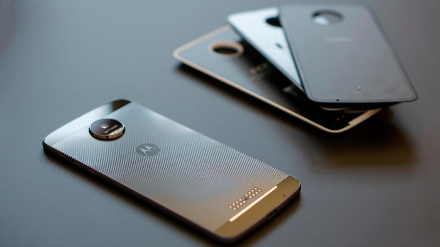 Moto Z Droid, with several Moto Mods