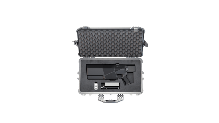 The DroneGun MkIII ships with a rugged carry case