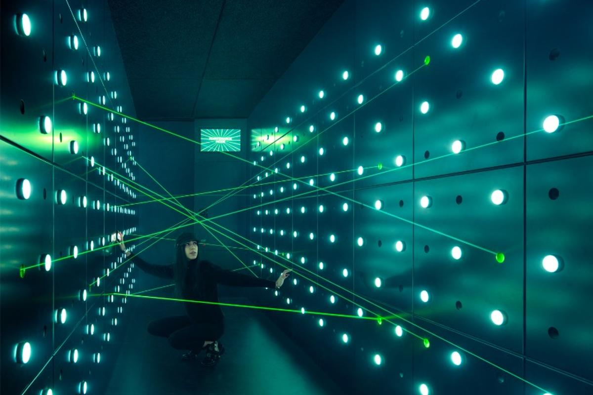 "Visitors to Spyscape can hone their skills in ""laser tunnels"""
