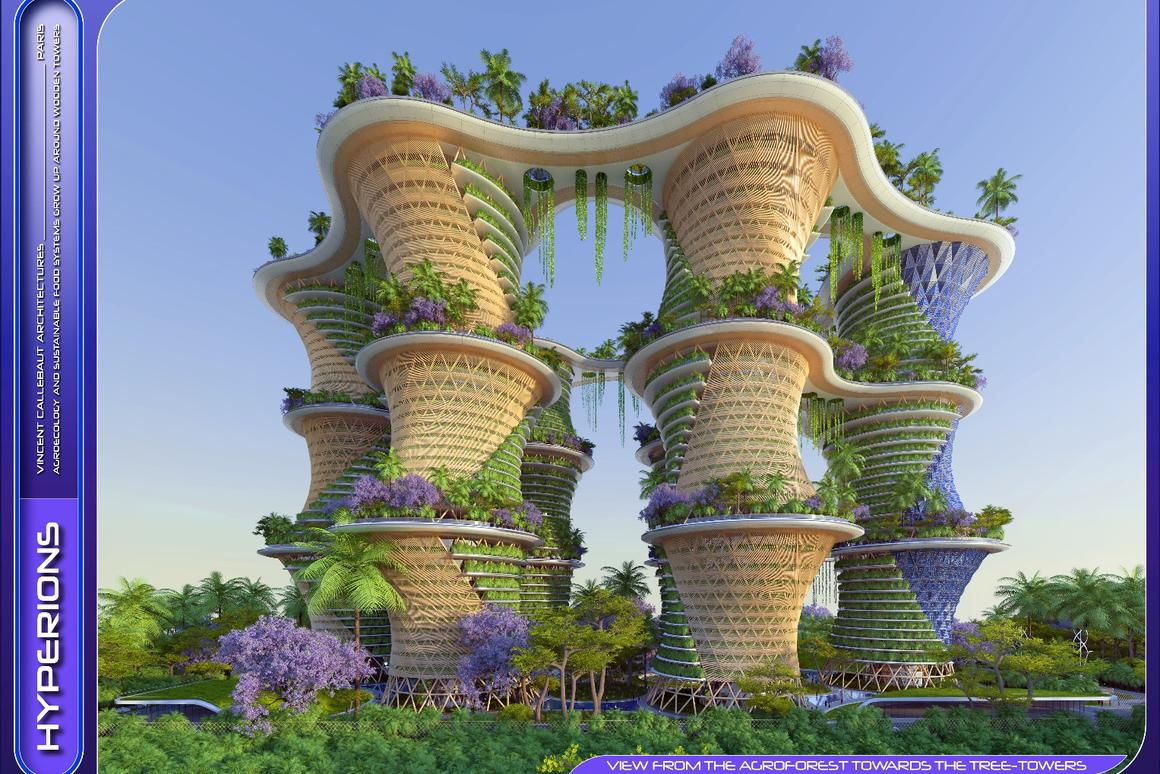 The project comprises six towers, with suspended bridges enabling residents to move between them