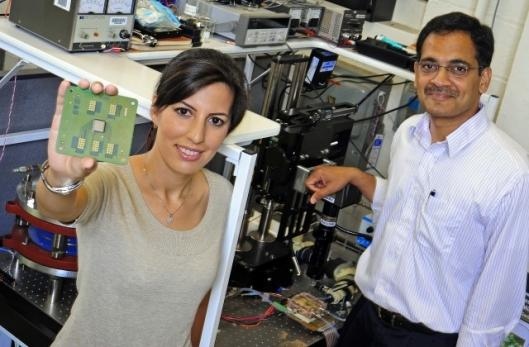 Purdue University's Tannaz Harirchian and Professor Suresh Garimella have developed a new means of cooling chips in electric and hybrid applications(Photo: Andrew Hancock)