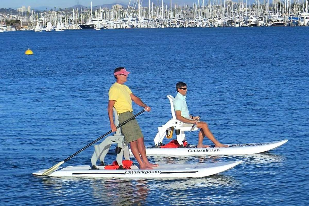 The CruiserBoard can be paddled from a sitting or standing position